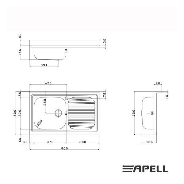 Lavello Apell Acciaio Inox 80 cm PI801 Schema Incasso