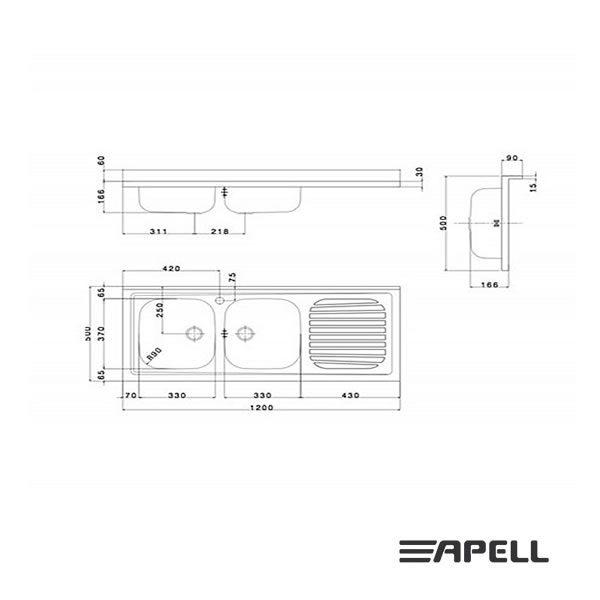 Lavello Apell Acciaio Inox 120 cm PI1202MRP Serie Pisa Schema Incasso