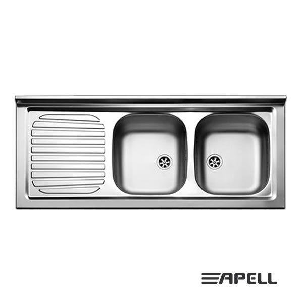 Lavello Apell Acciaio Inox 120 cm PI1202MLP Serie Pisa 2 Vasche
