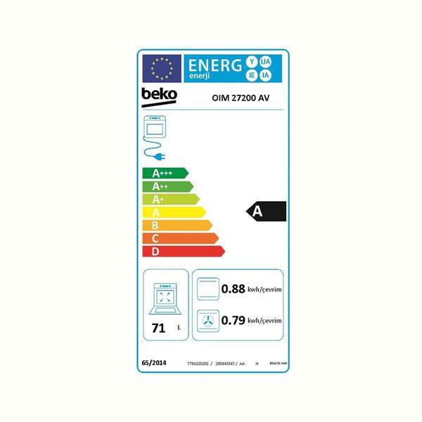 Beko Forno Incasso Multifunzione OIM27200A Etichetta Energetica
