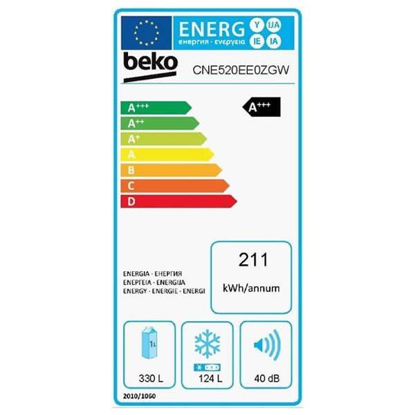 Frigorifero Combinato Beko CNE520EE0ZGW Cristallo Bianco Etichetta Energetica