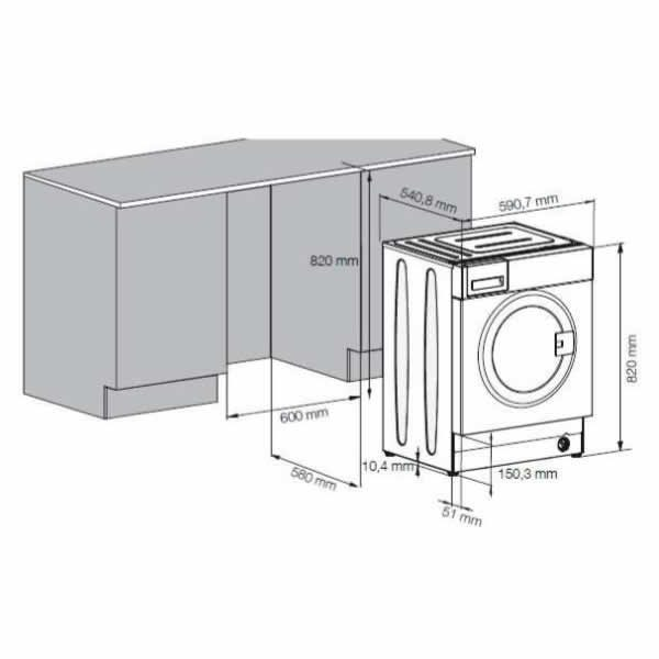 Lavatrice Beko Incasso 7kg 1200 Giri WITC7612B0W Dimensioni Incasso