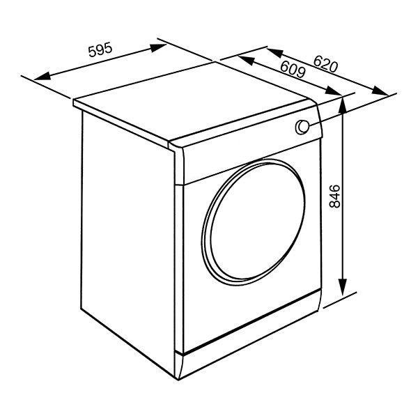 Asciungatrice Smeg DHT83LIT-1 8 kg Disegno Tecnico