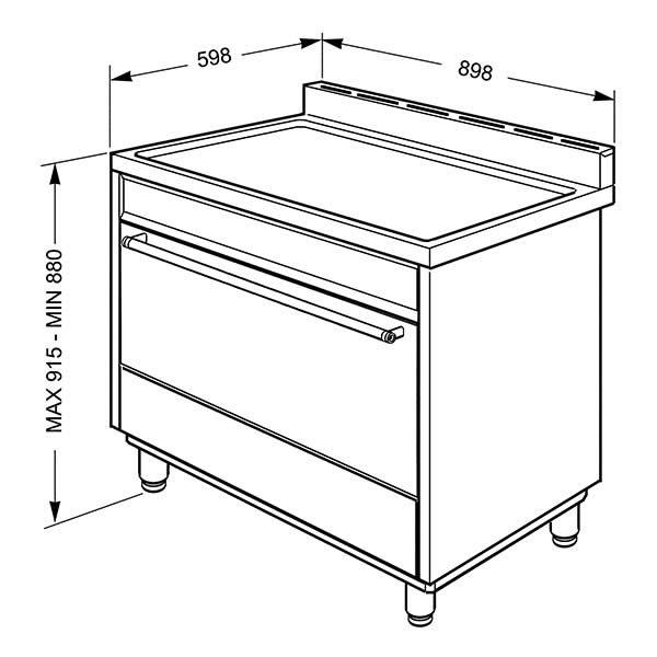 Cucina Gas Forno Multifunzione Smeg B9GMBI9 90cm Bianco Disegno Tecnico