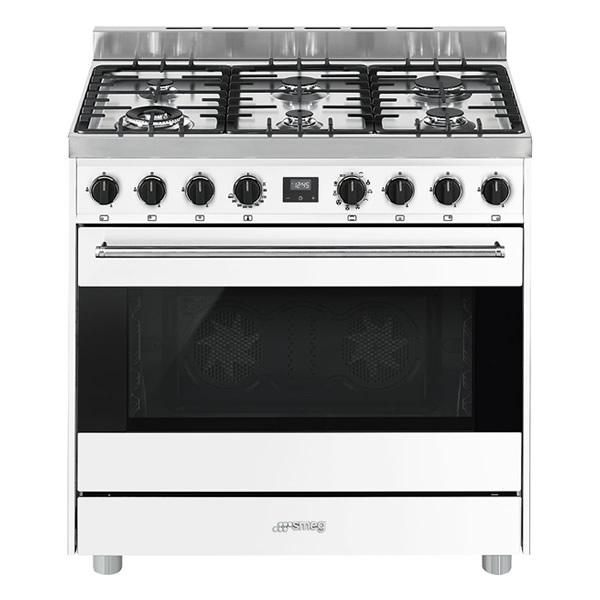 Cucina Gas Forno Multifunzione Smeg B9GMBI9 90 cm Bianco - UniPrice