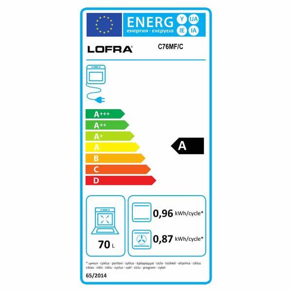 Cucina Lofra Curva Inox 70 C76MF/C Forno Multifunzione Etichetta Energetica