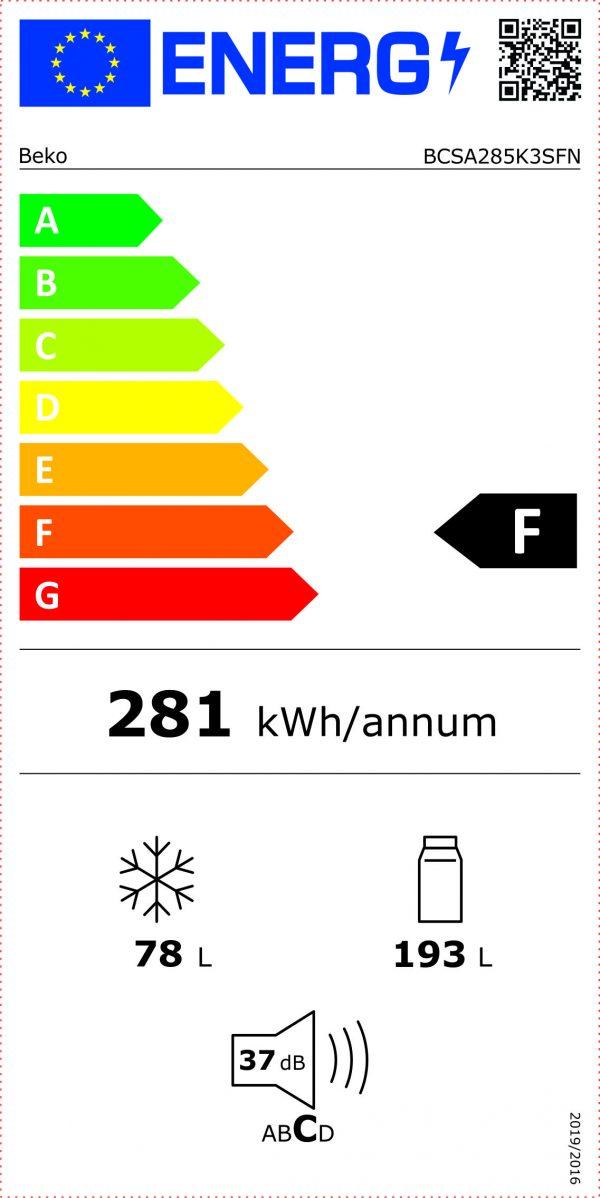 Etichetta Energetica Frigorifero Beko Combinato BCSA285K3SFN
