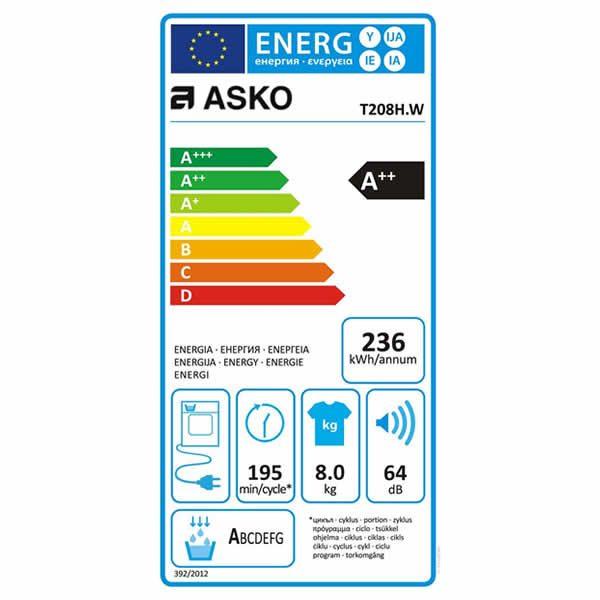 Asciugatrice 8 Kg Asko T208HW Etichetta Energetica