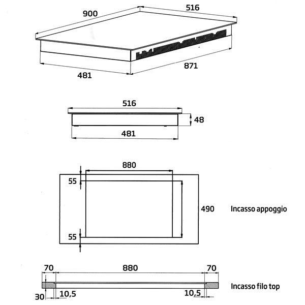 Piano Cottura Beko Induzione HII95800FHT 90 cm Dimensioni Incasso