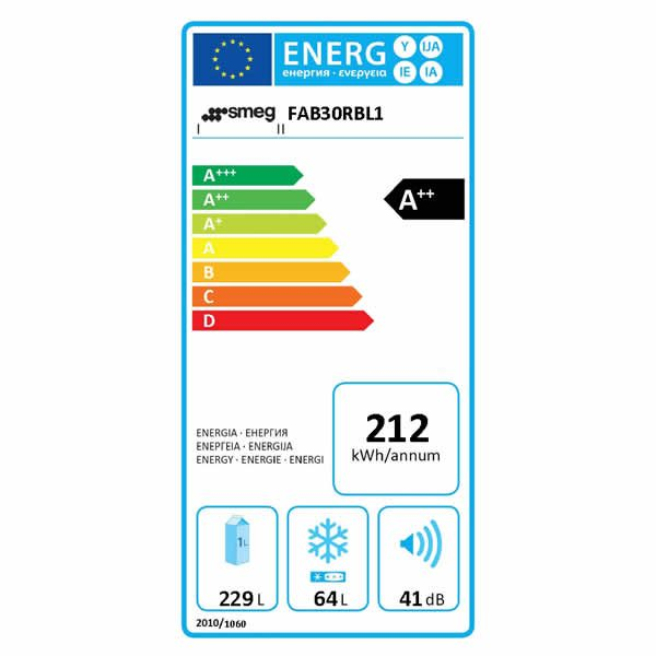 Frigorifero Doppia Porta Anni 50 Smeg FAB30RBL1 Blu Etichetta Energetica