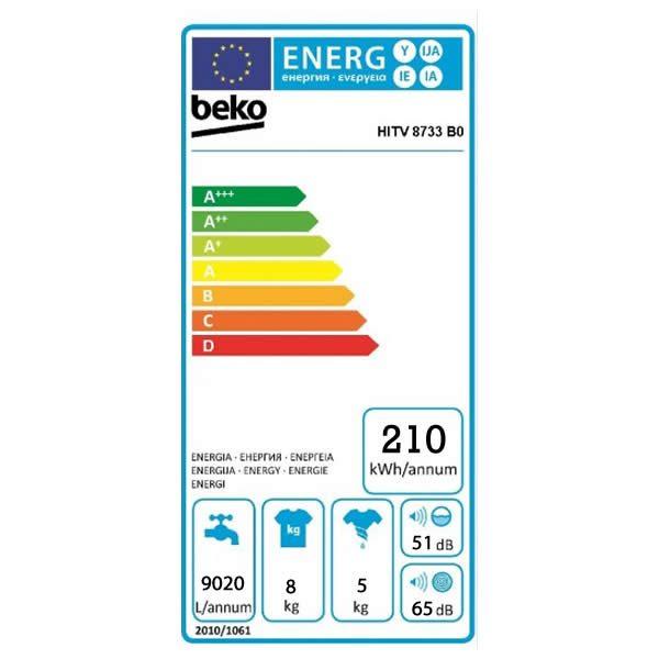 Lavasciuga Beko Incasso Integrale HITV8733B0 8 Kg Etichetta Energetica