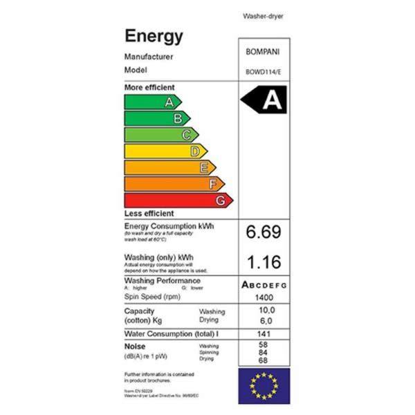 Lavasciuga Bompani Lavinia 10 Kg 1400 Giri BOWD114E Etichetta Energetica
