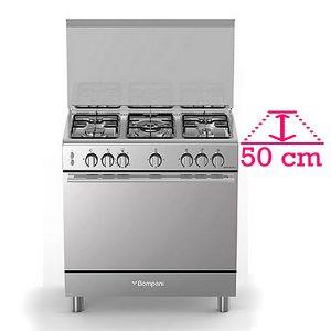 Bompani Cucina Gas BO853EG-N 5 Fuochi a Gas Forno Gas Ventilato 80X50 cm Inox