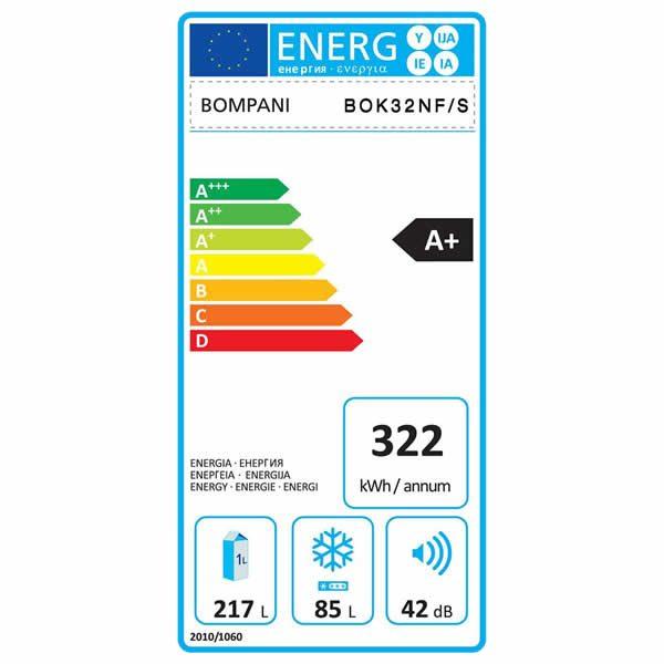 Bompani Frigorifero Combinato BOK32NF-S Cristallo Specchio Etichetta Energetica