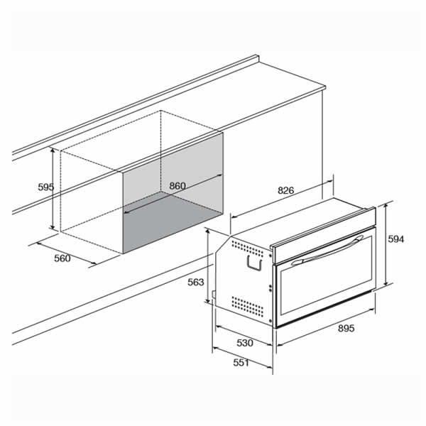 Forno Incasso 90 cm Lofra FYS99EE Schema Incasso Standard