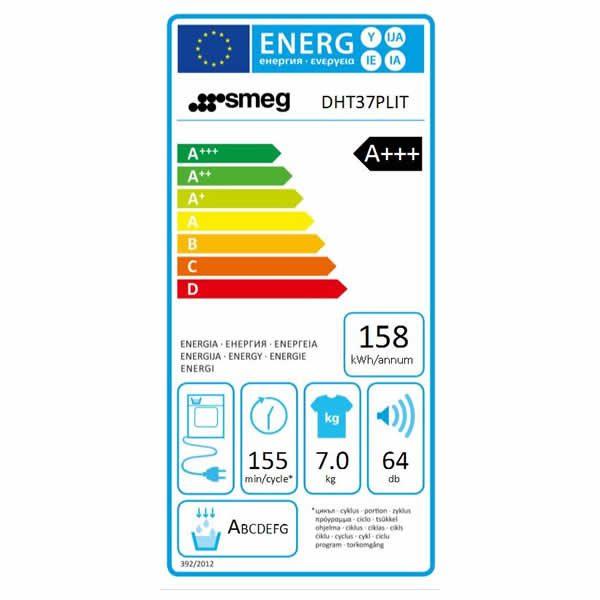Asciugatrice Smeg 7 kg DHT37PLIT High Tech Etichetta Energetica