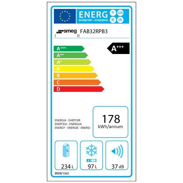 Frigorifero Combinato Anni 50 Smeg FAB32RPB3 Azzurro Etichetta Energetica