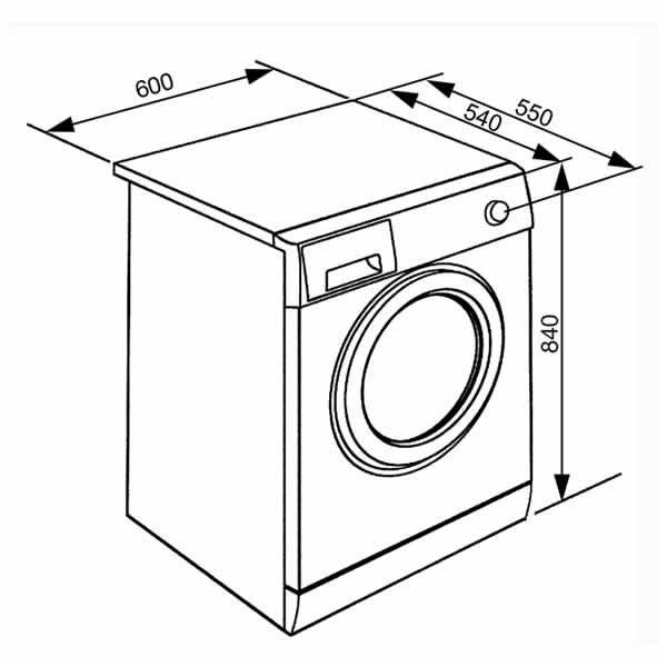 Lavatrice Smeg 8 kg 1200 Giri Smeg WHT812LSIT Dimensioni