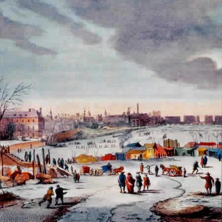 Storia del Frigorifero - Dalla Ghiacciaia al Frigo Smart Thames Frost Fair 1683