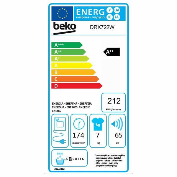Asciugatrice Beko DRX722W 7kg Pompa di Calore Etichetta Energetica