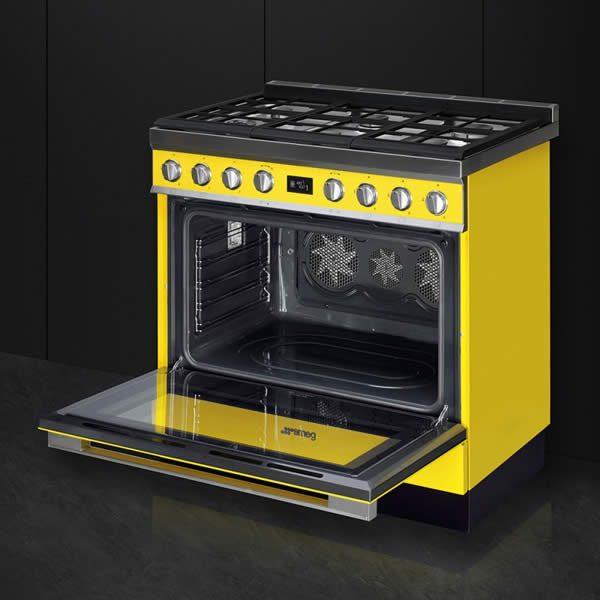 Cucina Smeg CPF9GPYW 90cm Giallo Forno Elettrico Cavità