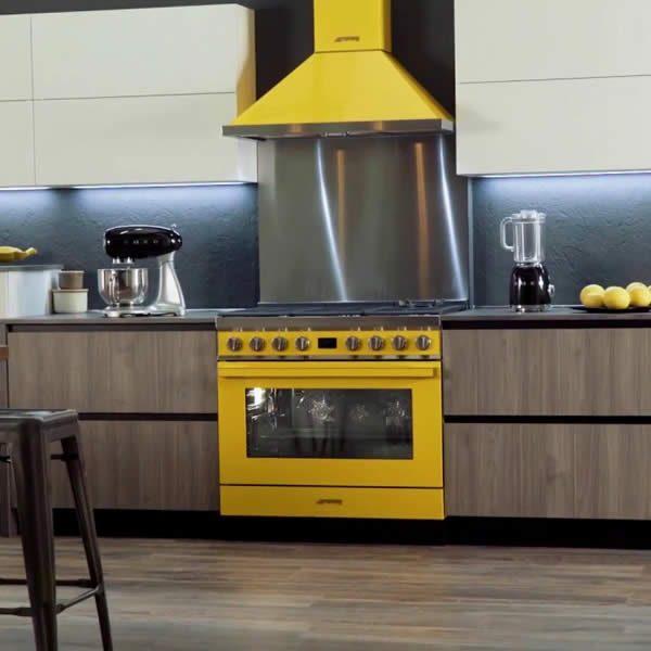 Cucina Smeg CPF9GPYW 90cm Giallo Forno Elettrico In Cucina