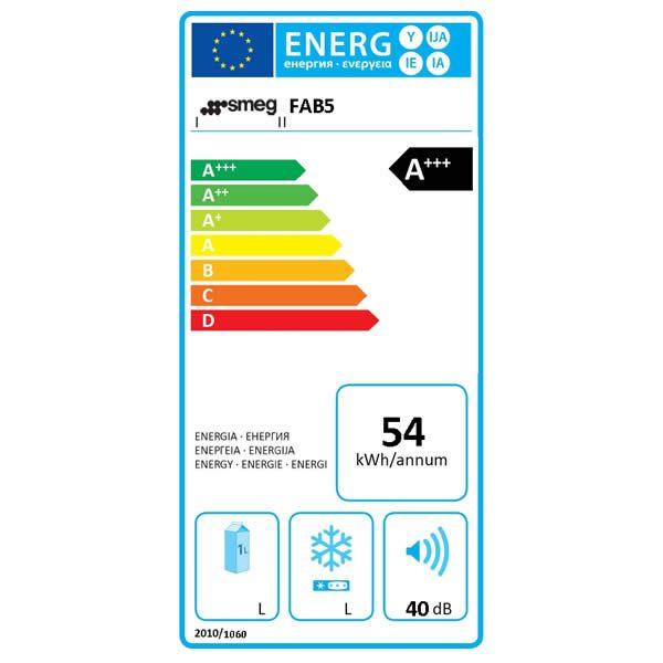 Frigorifero Smeg FAB5RBL3 Minibar Nero Etichetta Energetica