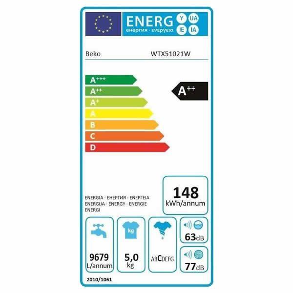 Lavatrice Beko Slim WTX51021W 5kg Etichetta Energetica