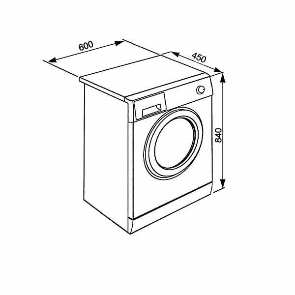 Lavatrice Beko Slim WTX51021W 5kg Schema Dimensioni