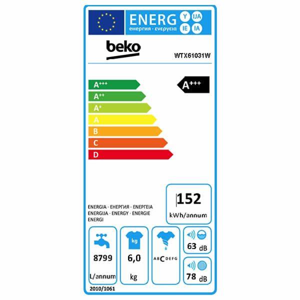 Lavatrice Beko WTX61031W 6kg Etichetta Energetica
