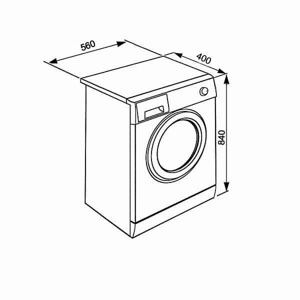 Lavatrice Slim Beko WTXS61232WI 6kg Schema Dimensioni