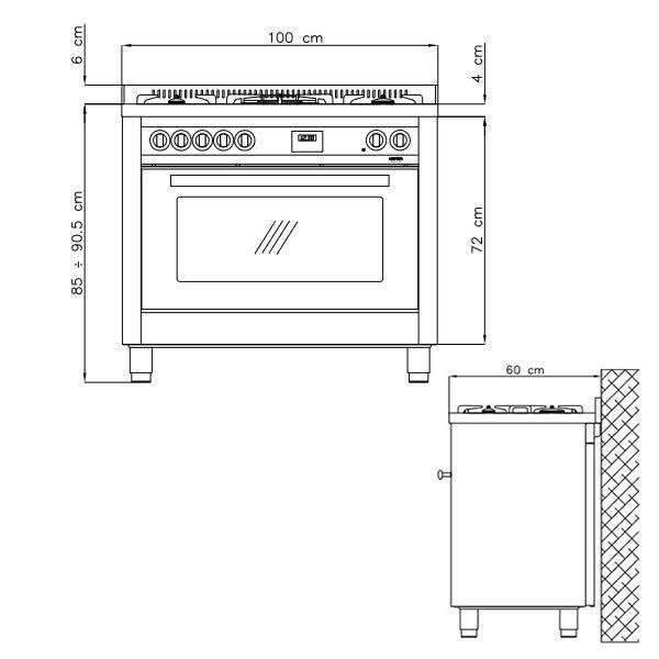 Cucina Lofra Special 100 PG106MFT-UI Total Inox Schema Dimensioni