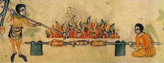 Cucinare con il Girarrosto Addetti alla Cottura Medioevo