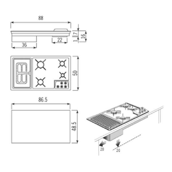 Piano Cottura Gas Alpes Inox 5088-4GBG AM 90 cm Barbecue - UniPrice