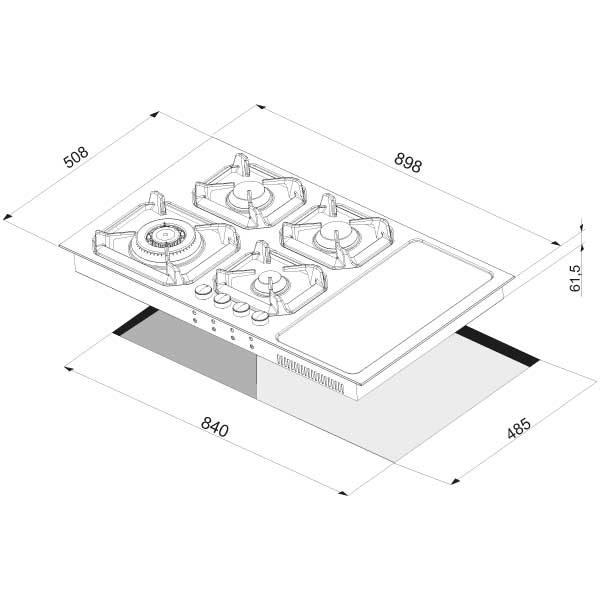 Scheda Tecnica Piano Cottura Misto Gas Induzione 90 cm Lofra HLS9G2I
