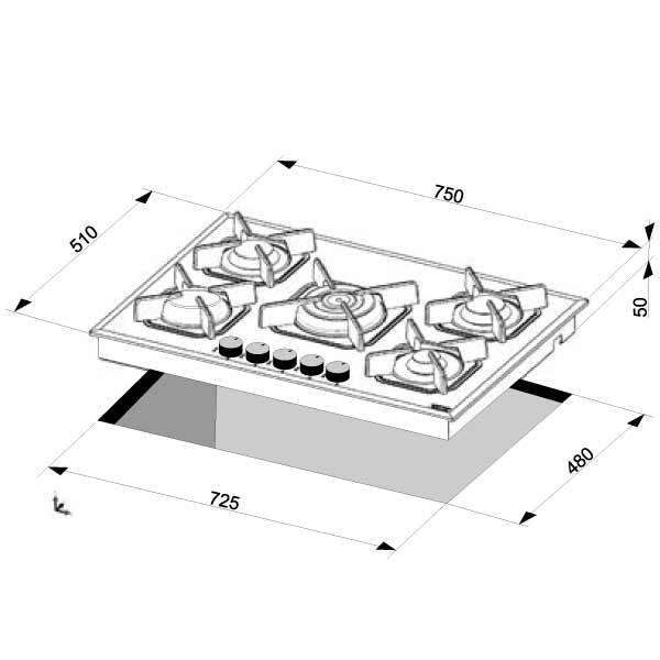 Piano Cottura Vetro Bianco Lofra HGB7E0 5 Fuochi - UniPrice