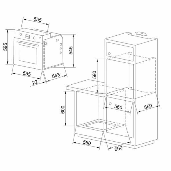 Forno Franke GN-82-M-NT-XS Elettrico Inox Classe A Schema Dimensioni
