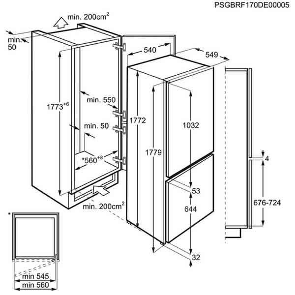 Frigocongelatore Incasso AEG SCB51811LS Combinato A+ 177cm Schema Dimensioni