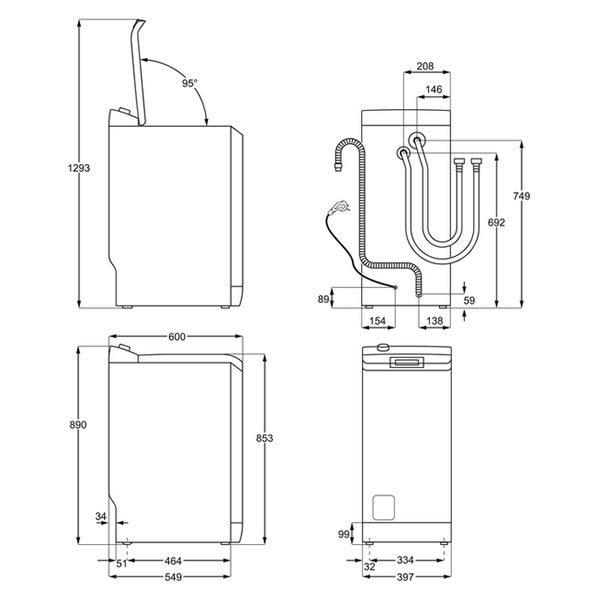 Lavatrice Carica dall'Alto AEG L6TBG621 6kg Schema Tecnico