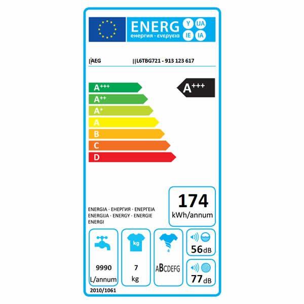 Lavatrice Carica dall'Alto AEG L6TBG721 7kg Etichetta Energetica