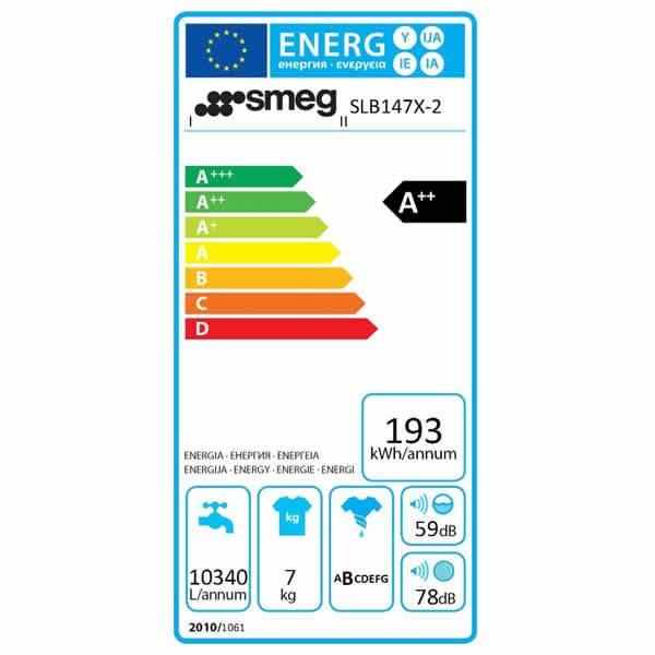 Lavatrice Carica Frontale Smeg SLB147X-2 7kg Etichetta Energetica