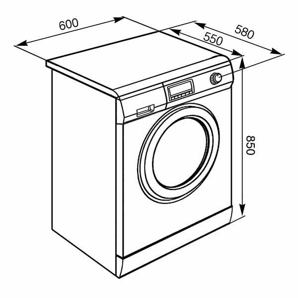 Lavatrice Carica Frontale Smeg SLB147X-2 7kg Schema Dimensioni