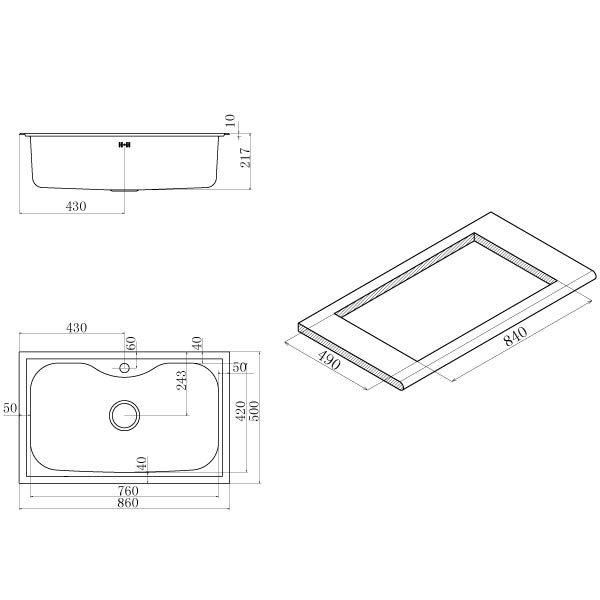 Lavello Monovasca Acciaio Inox 86×50 Criteria Apell CR860IBC Supremo Scheda Tecnica