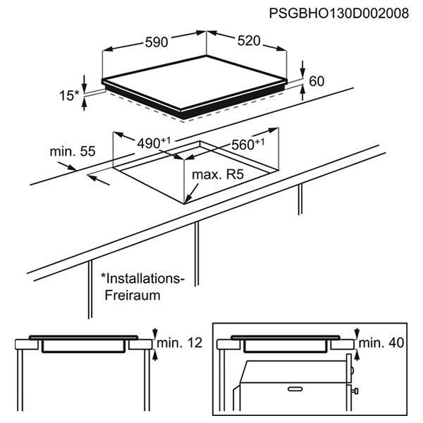 Piano Cottura Induzione AEG HK604200IB 60cm Schema Dimensioni