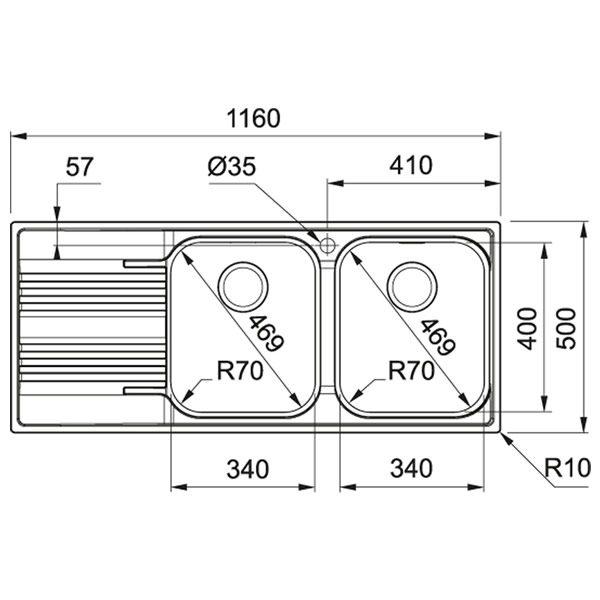 Lavello Franke SRX 621 116x50cm Smart Inox Satinato Schema Dimensioni