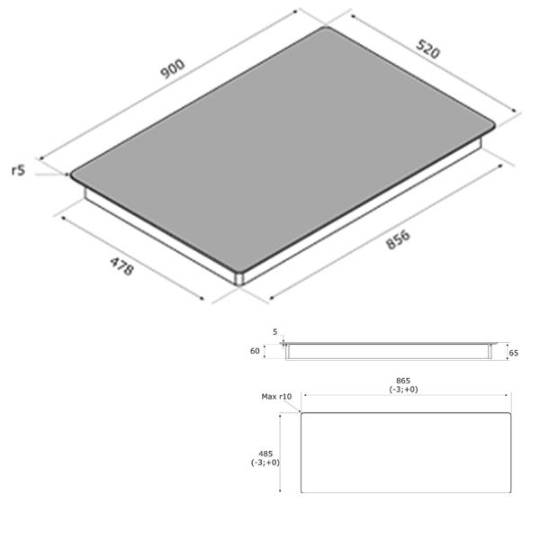 Piano Cottura Induzione Airforce Integra 90 5 Zone Schema Dimensioni