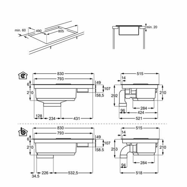 Piano Integrato Induzione AEG IDK84451IB con Cappa 83cm Schema Dimensioni