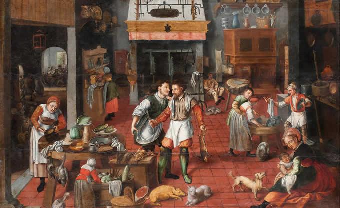 Arte e Cibo Marten van Cleef Interno con cucina