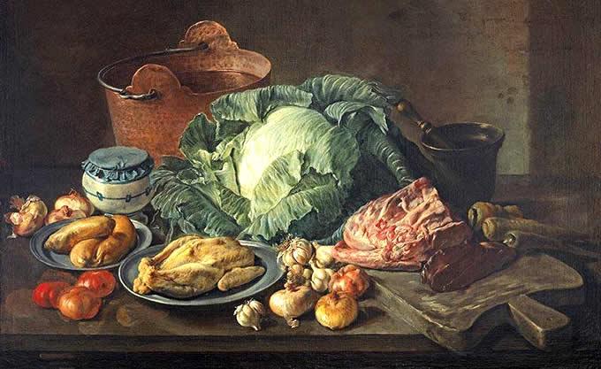 Arte e Cibo Giacomo Ceruti Pitocchetto Secchio di rame, verza, pollo XVIII sec