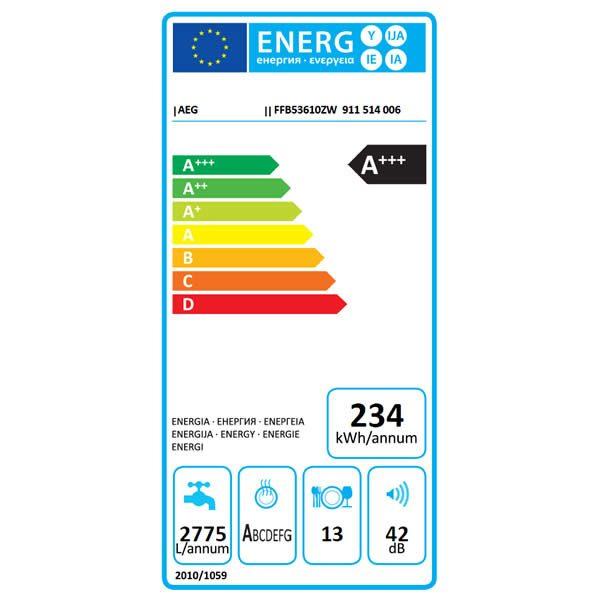 Lavastoviglie AEG FFB53610ZW Libera Installazione 13 Coperti Airdry Etichetta Energetica